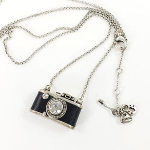 Fossil Camera Necklace Silver Tone